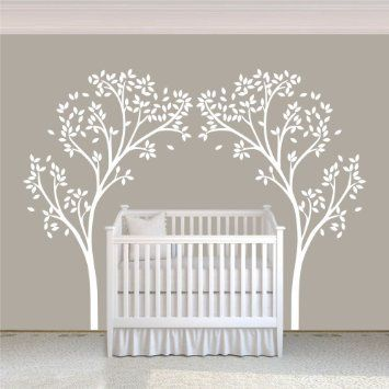 Vinyl Nursery Tree Decal Tree Canopy Portal Wall Sticker Tree Wall Graphic Wall Mural Home Art Decor White