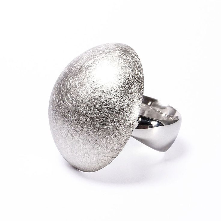 Big Half-Sphere Silver Ring - Created by Flux Studio