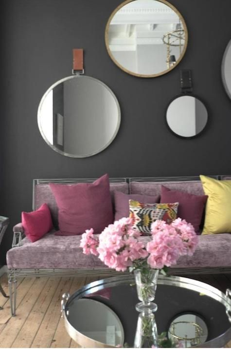 Purple + grey this is the color of the wall that I want in my living room, @Colleen Ursenbach Do you think we could find something like it?