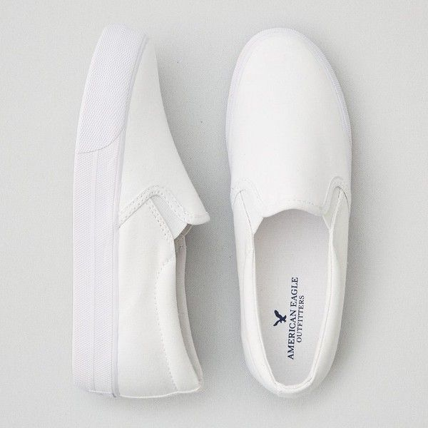 American Eagle Canvas Platform Sneakers ($30) ❤ liked on Polyvore featuring shoes, sneakers, white, canvas sneakers, white slip on sneakers, white shoes, slip-on shoes and canvas shoes