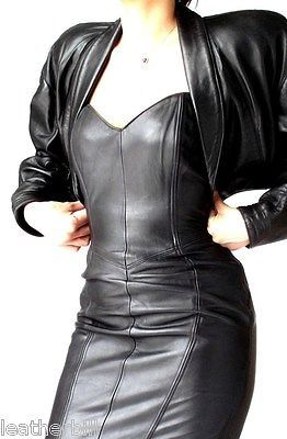NORTH BEACH BLACK LEATHER  LACED DRESS and JACKET SUIT