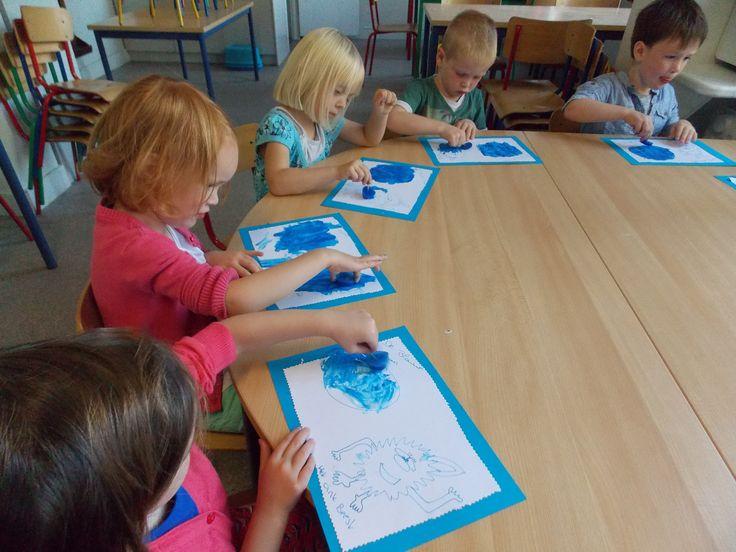 schilderen met ijsblokjes (verf invriezen)