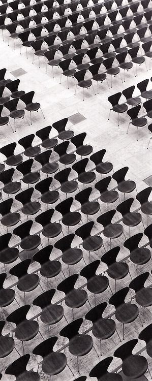 west of the sun | theimportanceofbeingmodernist: Lucky Number 7:...plywood Chairs in mass create a strange pattern