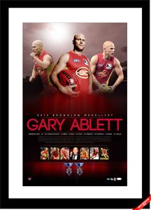 Well what a win, Gary Ablett secured his second Bronwlow MEdal with the Gold Coast Suns on 23 September 2013. Images feature the Brownlow Medallist in action throughout the year as well as during his acceptance speech on Brownlow night.  Each piece is personally signed by Gary Ablett. Personally signed by Gary Ablett Accompanied with a certificate of authenticity Authenticated by AFL Players Association Replica Brownlow Medals Limited in edition Approx framed size 960mm x 640mm