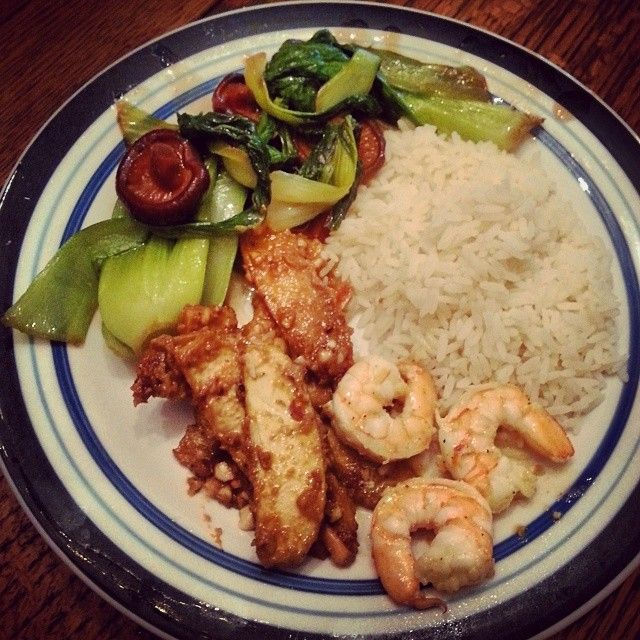 Stir fry bok choy with shiitake mushrooms, garlic butter shrimp, and ...