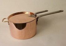 Victorian Copper Saucepan with Cover. circa 1869 Made of very heavy gauge copper has castellated seams.