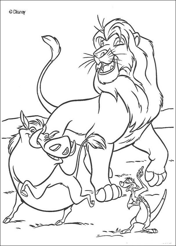 The lion king coloring pages happy simba timon and pumbaa