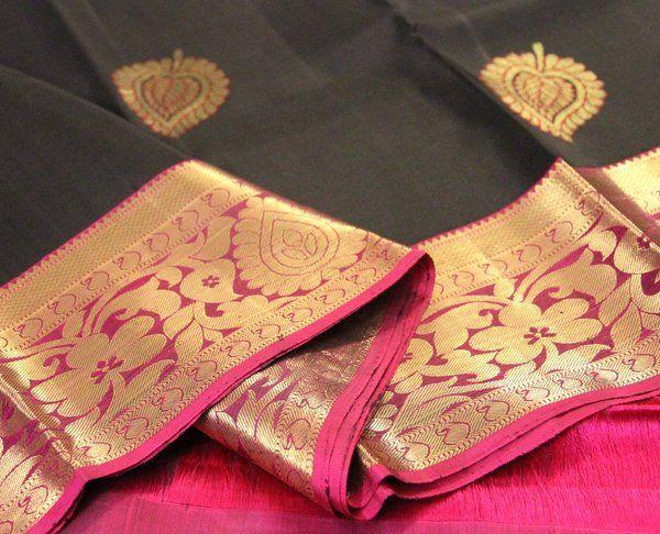 Image result for black kanchipuram silk saree