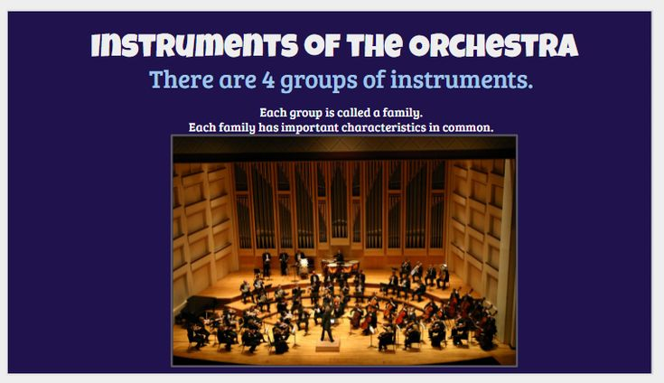 FREE slideshow of a Instruments of the Orchestra slideshow. Includes clips of each instrument and full instrument family, playing characteristic repertoire.   Musicclassmagic.info is a FREE website of music education resources for your music classroom. Come see what we've got for you use in your lesson plans!