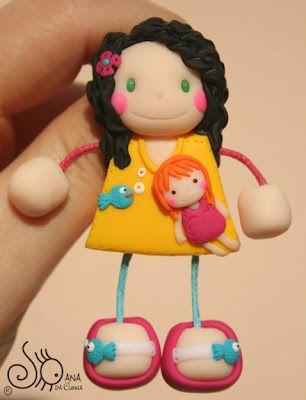 Mundo das Bonecas * Joana da Cunha: Boneca com menina e peixe azul