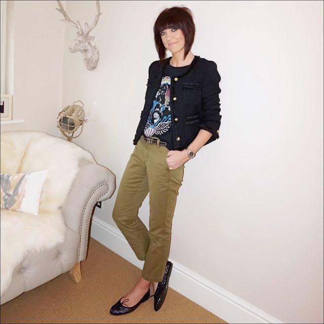 My Midlife Fashion, J Crew Lady Jacket, zara band t shirt, j crew cropped kick flare sammie chinos, french sole arabella black glitter ballet pumps