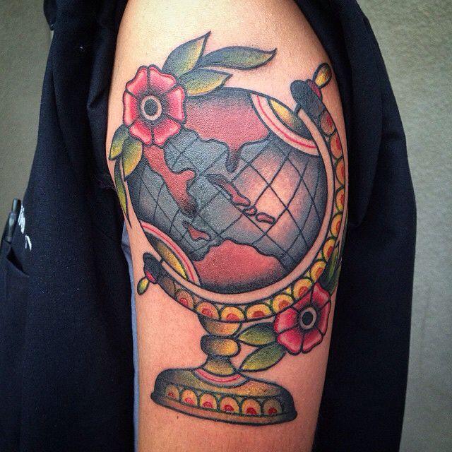 Traditional globe tattoo