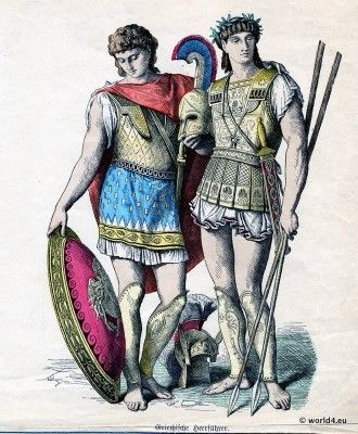 Ancient Greek Costumes. Classical antiquity, ancient military dresses from Greece.