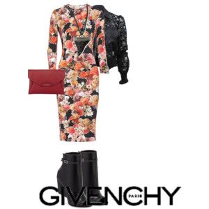 Givenchy Dressy Outfit. Dark Floral Dress, Lace Jacket, Booties, Clutch, and Shark Tooth Necklace