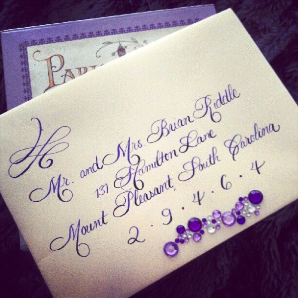 Ombre Calligraphy! This is our Rook Script with extra flourishing at the top and zip code is enlarged. We started with lavender ink and deepened it to achieve the ombre effect. Enjoy!