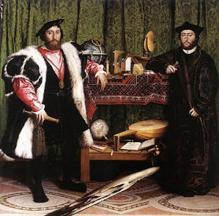 "Hans Holbein painted this picture in 1553. He named it ""The Ambassadors."" It has a skull that is warped in the foreground to show that no matter how rich you are you will eventually die."