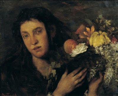 Περικλής Πανταζής (1849-1884), Ανθοπώλις με καλάθι. 1874. Εθνική Πινακοθήκη.