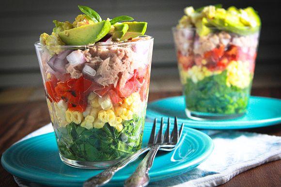 Rainbow salad in a glass