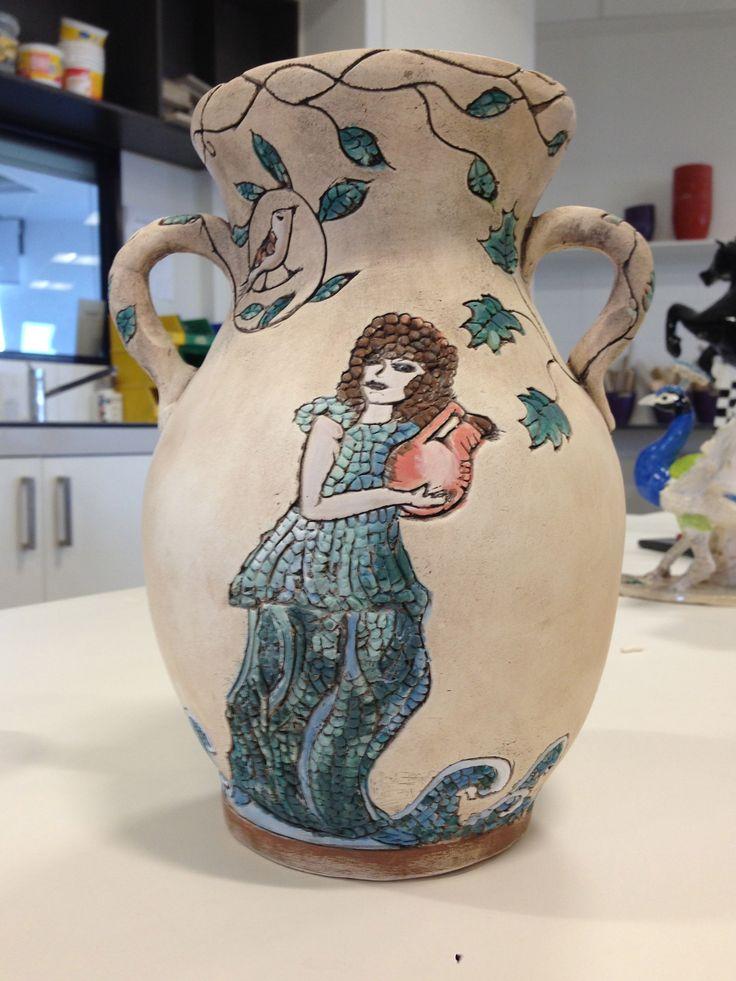 My interpretation of Cyprus Mosaics - reverse side of hand built vase