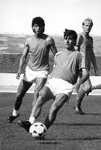 Carlos Mozer, Rui Aguas y Mats Magnusson ,  Benfica.