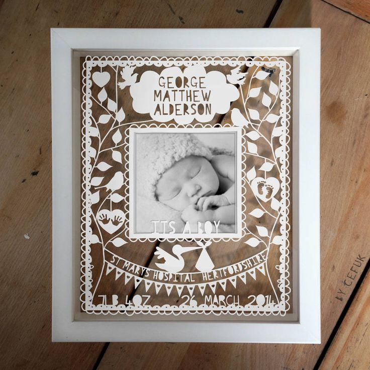 personalised new baby photo papercut by papercuts by cefuk | notonthehighstreet.com