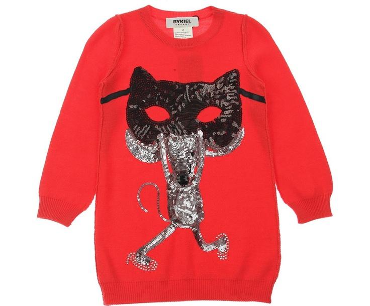 Rykiel Enfant Junior Girls Red Masked Mouse Sequin Jumper Dress