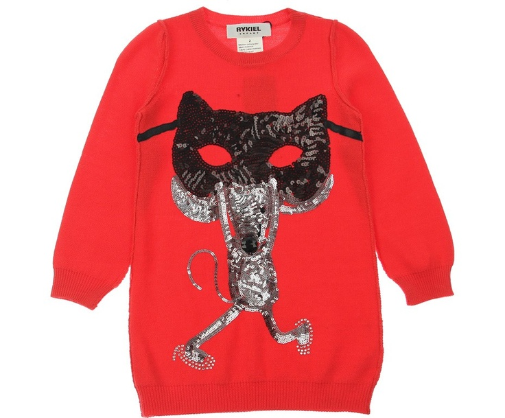 Rykiel Enfant Junior Girls Red Masked Mouse Sequin Jumper Dress