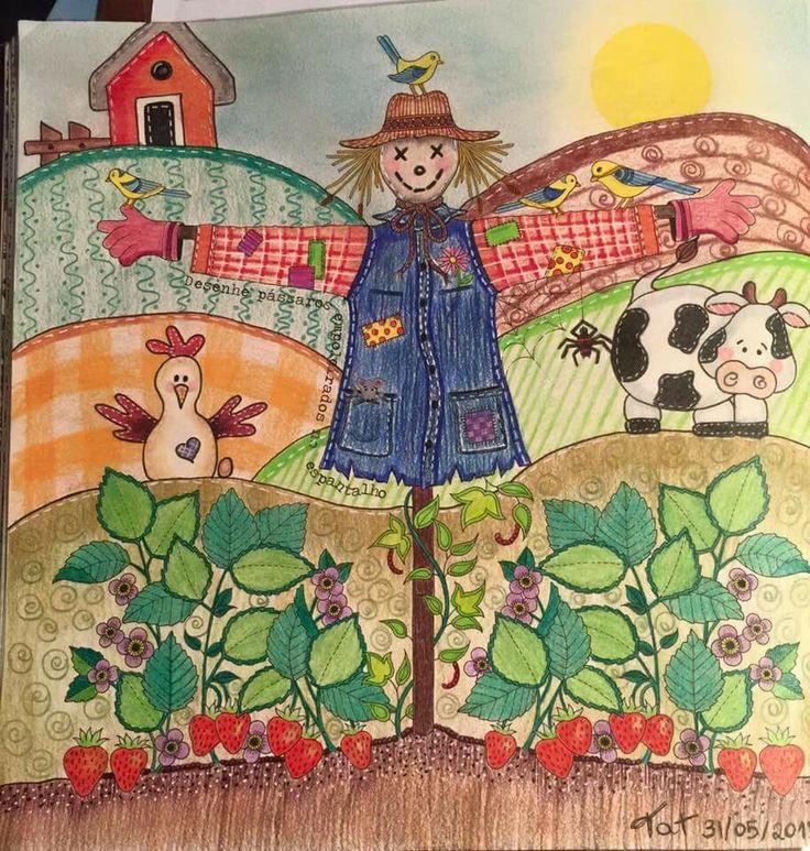 Scarecrow Secret Garden Espantalho Jardim Secreto Johanna Basford BookAdult ColoringColoring