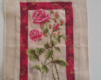 Pink Rose Cross Stitch Oval Framed Danish Design with Glass