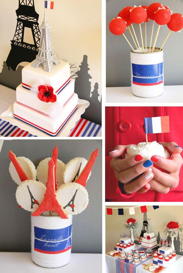 Idées deco pour un bal du 14 juillet 2013 en bleu blanc rouge forcement! Cookies et cake pops rouges, blancs et bleu, gâteau