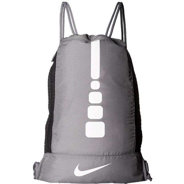 Nike Hoops Elite Gym Sack (Charcoal/Charcoal/White) Bags ($25) ❤ liked on Polyvore featuring bags, handbags, tote bags, handbags totes, white tote, drawstring purse, drawstring tote bags and drawstring handbags