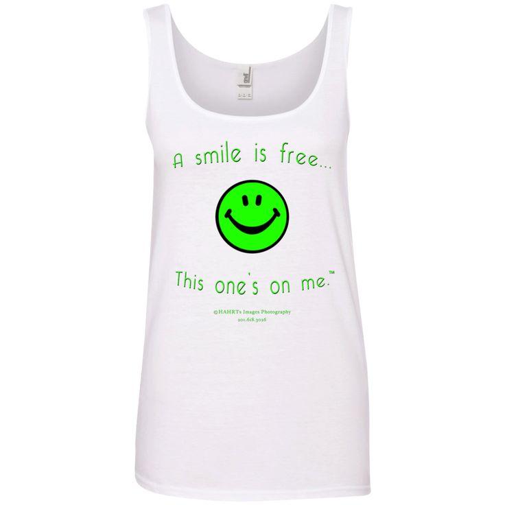 Ladies' 100% Ringspun Cotton Tank Top Neon Green Smile