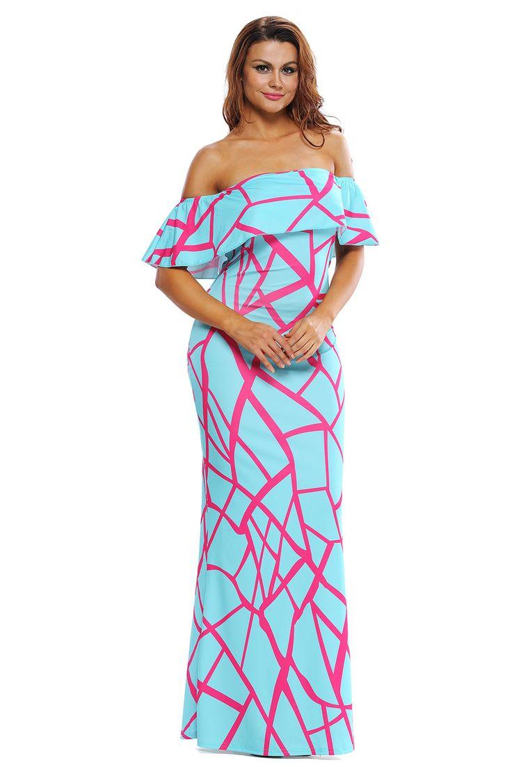 Robe Longue Epaules Denudees Volants Menthe Verte Fuschia Geometrique Pas Cher www.modebuy.com @Modebuy #Modebuy #Vert #style #sexy #vêtements