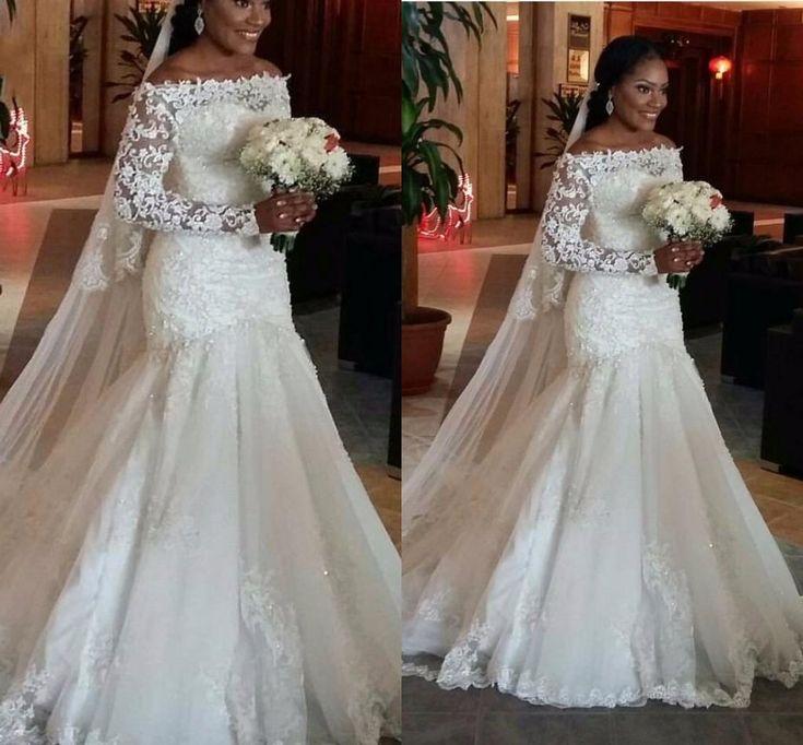 Long Sleeve Bateau Mermaid Arabic Wedding Dresses Sequins Lace Applique Pearls Beads 2016 Sparkle Bridal Gown