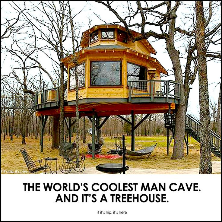 An amazing Man Cave Treehouse that sleeps five with a kitchen, living room, full bath, a wraparound deck, humidor, flat screen tv and outdoor BBQ grill.