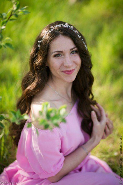 Купить Розовая тиара суперблеск и нежность - бледно-розовый, розовая тиара, украшение в прическу