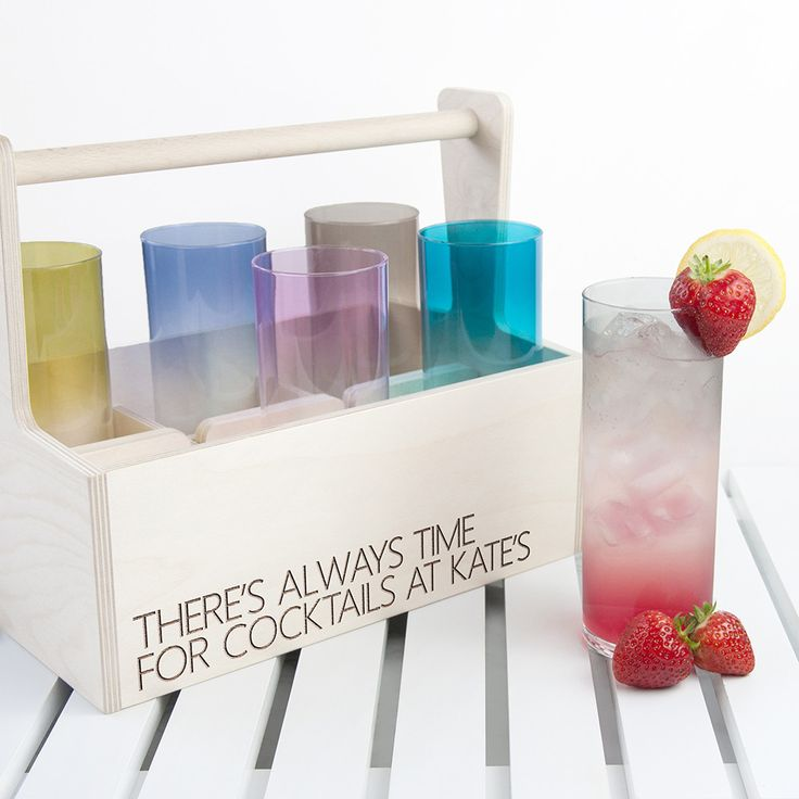 Personalised LSA Coloured Cocktail Highball Trug from yourgifthouse