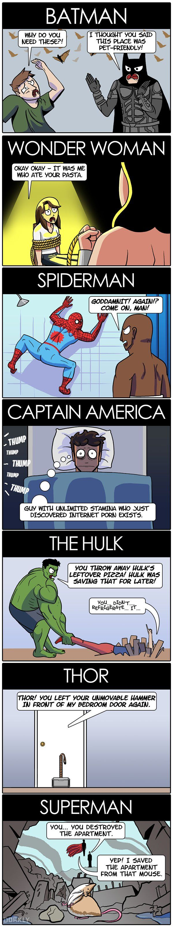 """Superheroes Who Would Make Terrible Roommates"" #dorkly #geek #superheroes"