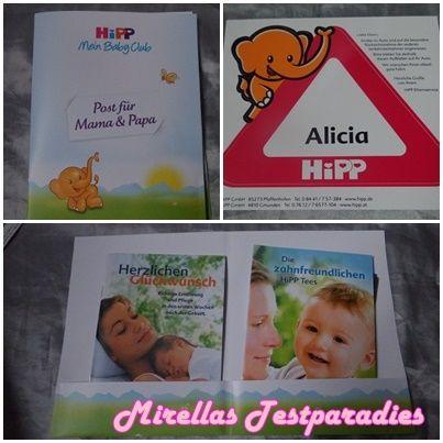 """Ich bekam ein großes Paket von HiPP mit einem Namens-Aufkleber für das Auto, welchen man bekommt, wenn man sich innerhalb der ersten 4 Wochen nach der Geburt seines Babys im """"HiPP Mein BabyClub"""" anmeldet sowie Infomaterial von HiPP."""