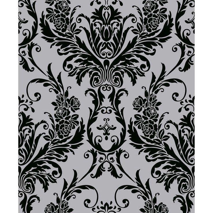Debona Medina White Silver Damask Suede Flock Effect Wallpaper
