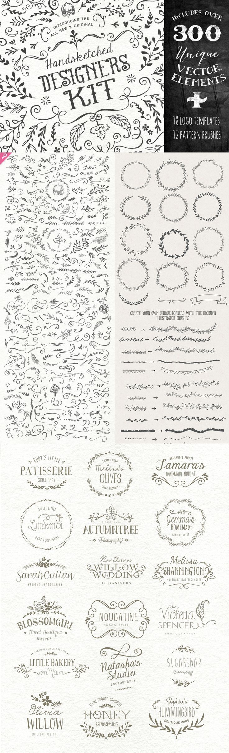 Ultimate Vector Elements Collection - logo templates, laurels, hand drawn look