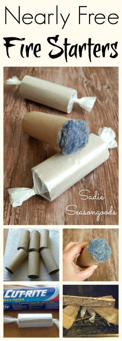 Create easy and nearly free DIY fire starters with items from your home that you'd normally throw out! Repurpose cardboard toilet paper tubes by filling them with dryer lint, and then wrap them in wax paper! Perfect repurpose / upcycle craft project for autumn and winter, or just to add to your survival supplies. #SadieSeasongoods / www.sadieseasongo...