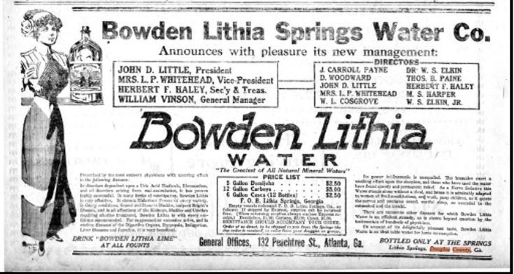 The first bottler of Lithia Spring Water was Judge Bowden of Atlanta GA. This is one of the first newspaper Ads to promote  Bowden Lithia Water