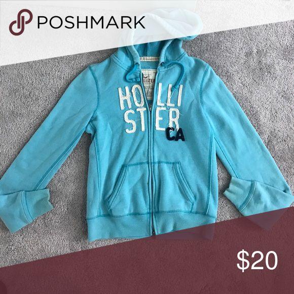 Hollister Zip Up Jacket Light blue zip up jacket with soft material nice oversized fit Hollister Tops Sweatshirts & Hoodies