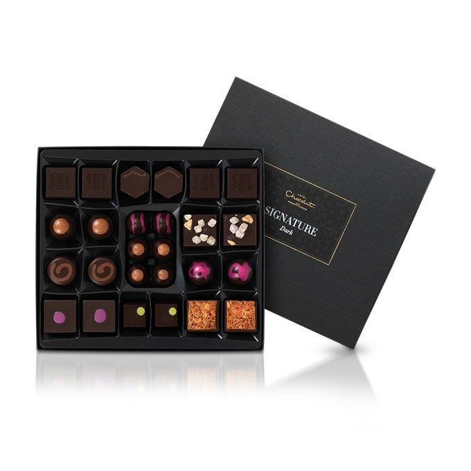 The Medium Dark Signature Collection: The grandest of our most sought-after dark chocolates, dressed to thrill in a smart and elegant box. #hotelchocolat #hcdreamhamper