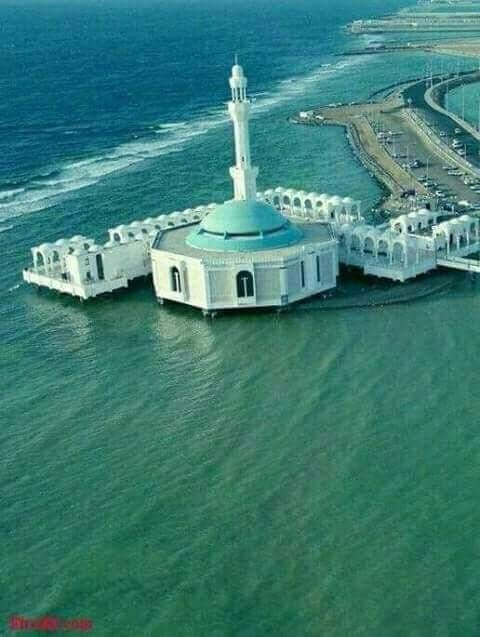 A Mosque floating in water in Jeddah,Saudia Arabia. Allahu Akbar