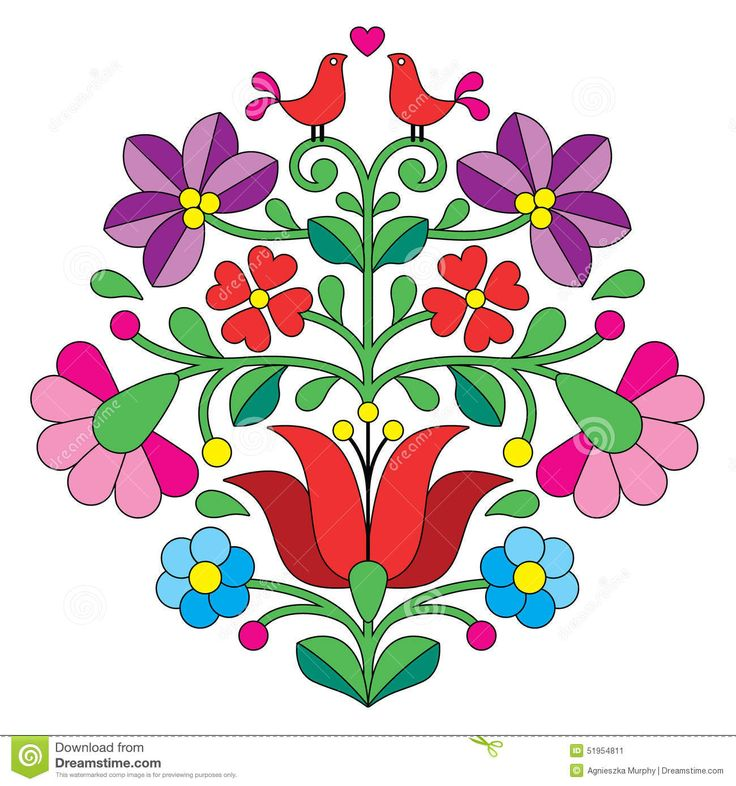 Kalocsai Embroidery - Hungarian Floral Folk Pattern With Birds - Download From Over 46 Million High Quality Stock Photos, Images, Vectors. Sign up for FREE today. Image: 51954811