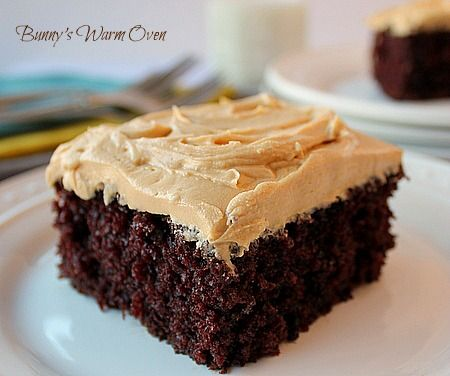 Homemade Chocolate Cake with Peanut Butter Frosting... Chocolate and coffee together give you a delicious mocha flavor. The texture is very soft and moist. The cake is the star, top the cake with the frosting of your choice!