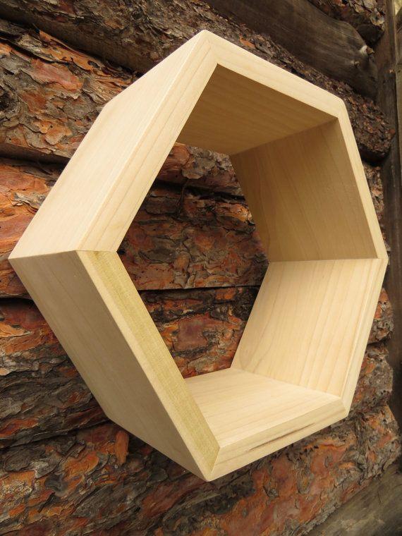 HGTV Hexagon Shelf ~ Modern Shelves / Floating Shelves / Bookshelves / DIY, as shown on cover of HGTV magazine 10/16 - in unfinished poplar