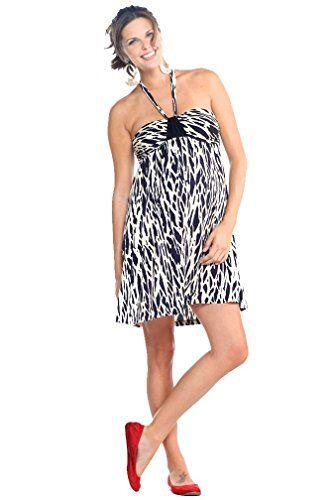 Maternite Short Halter Animal Print Maternity Dress  BlackOff White  Medium